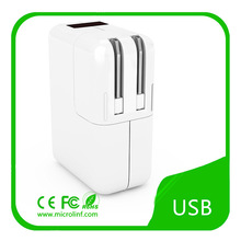 2-USB Wall Charger with prongs fold for traveling