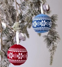 Knit Christmas tree decoration, Christmas ball hanging ornament, personalized christmas ball ornaments