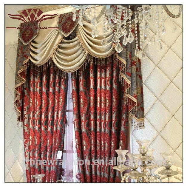 Elegante woonkamer gordijn, rode pure gordijn stof, borduurwerk gordijnen ontwerpen gordijn