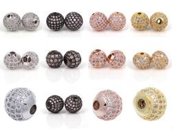 micro pave cz beads silicone bracelet charms wholesale to make bracelet necklace jewelry