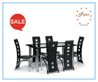 online glass dining table 7 pieces PDT14938-1 for dining room sets