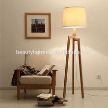 Modern Tripod wood floor lamp with cloth shade /wood lamp skin analyzer