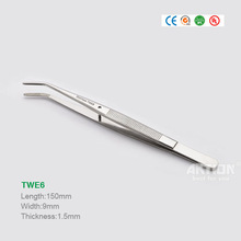 Fixed Position Curved Tip Stainless Steel Tweezers