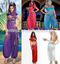 Genie Jasmine Aladdin Princess Adult Costume Fancy Dress Arabian Belly Dancer BW1211