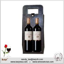 Fashion Promotional 2 Bottles Leather Wine Bag Carrier