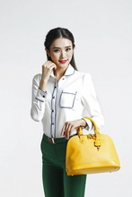 fancy ladies' canvas handbag with flower printing New Fashion Good Quality Real Leather Tote Bag