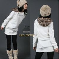 2012 Fashion New Spring/Autumn Cotton Parka Women Leopard Hoodie christmas sweater coat Sweatshirt Top Outerwear 3283