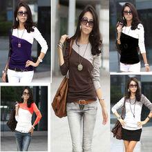 2013 Women's T-Shirt Splice Casual Round Neck wholesale t-shirts china 3619