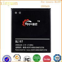 New brand fashionable mobile battery BL197 2000mAh cellphone battery for lenovo