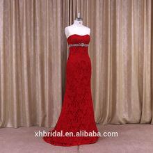 Dreamy sweetheart neckline low back beaded brooch red full lace mermaid wedding dress
