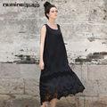 lunkuo 2014 verano elegante estilo sin mangas de algodón y mezcla de seda ahuecar el dobladillo de encaje negro maxi vestido largo para las señoras