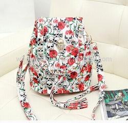 2015 Cute Style Rose Crossbone Skull Printed Polyester Rivet Studed Backpack Bag Knapsack Rucksack Shoulder Bag For Girls Ladies