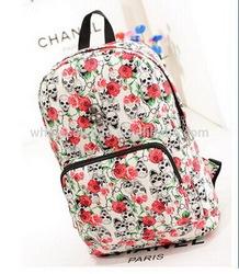 2014 In Stock Designer Rose Skull Crossbone Printed Polyester Backpack Bag Knapsack Rucksack Shoulders Bag For Young Teenagers