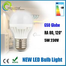 Hot sale color changing led light bulb,G50 globe new ra80 5w 230v 120degree,dual color color changing led light bulb
