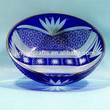 Stock Lowest price Cobalt blue Modern Art Kiriko glass bowl fruit bowl