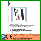 sectioned foldable aluminum healthcare night visible white cane with soft plastic handle and woven fabric strap for blind people