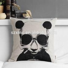 Custom logo print cushion,classic black and white gentleman panda vintage cushion,promotion and advertisement cushion