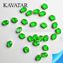 Neon green oval beads in bulk , opal green rhinestone wholesale