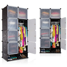 Black pattern Plastic portable wardrobe,easy assemble and disassemble(FH-AW023822-8)