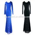 Sexy round Neck Fishtail Lace evening Dress ,long sleeve Elegant Long sexy lace evening dress muslim