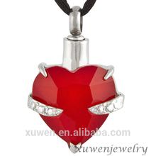ruby stone 316l stainless steel heart personalized glass keepsake