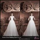 LJ509 A-Line High Collar Tulle Skirt Long Sleeve And Long Train Wedding Dress