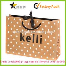 2014 orange dot with satin paper shopping bag