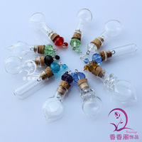 8MM Glass Vials With Crystal Beaded Corks,wishing bottle DIY Magic Wishing Bottles ,Aroma vial pendant