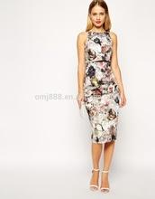 Autumnal Blossom Print Crop Top Midi Pencil Dress China products