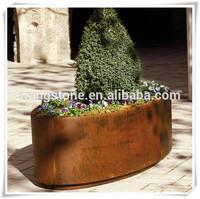 Hot Wrought India Corten Steel Boat Sculpture Flower Pot