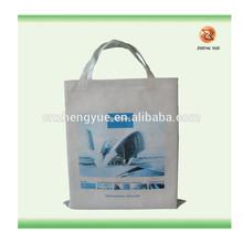 high quality trendy shopping bag/100% recycle very long handle gift bag shopping bag/eco friendly white fabric bag