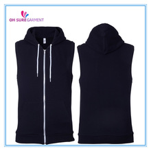 customized cotton french terry sleeveless hoody for women