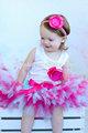 venta al por mayor de gasa para niños ropa de bebé niñas faldas tutu linda falda de las niñas de la cinta detalles de encaje de color rosa caliente las niñas faldas