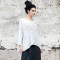 lunkuo original da marca casual mais recente manga longa de linho bordado elegante blusa das senhoras parte superior l142y007 branco