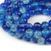 Royal Blue 10mm Stranded Crackle Lampwork Decorative Glass Beads