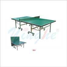 Green surface single folding movable table tennis table for kids and adults