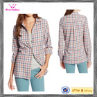 Custom lined plaid shirt women flannel shirt