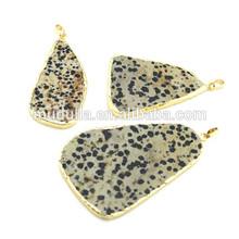 Wholesale Dalmatian Jasper Single Bail Pendant Gold Edged Dalmatian Jasper Stone Pendant