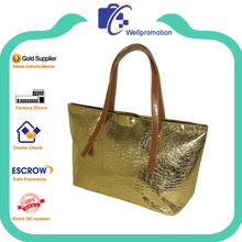 Wellpromotion fashion promotional golden crocodile-embossed synthetic leather tote bag with shoulder straps