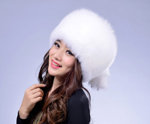 Winter Hat Natural 100% Fur white Fox
