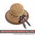 natural de papel sombrero de paja con banda de la flor