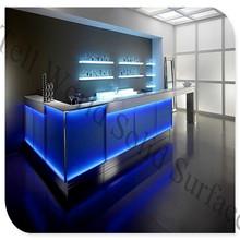 LED Bar Top/Modern Corian Bar Table/LED Mobile Bar with Back Bar Shelf