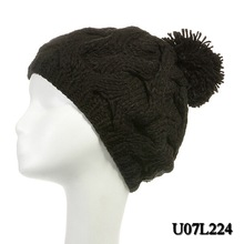 Winter men Black knitted hat with ball top