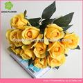 Artificial da flor de rosa Silk Rose Bouquet de alta qualidade Yellow Rose flores de seda