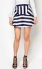 New Style Ladies Navy &White Stripe Peplum Hem Mini Skirt