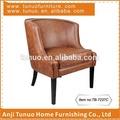 Unico ufficio divano, cuoio e gomma di legno, cuscino del sedile mobile, tubazioni intorno schienale e seduta, tb-7237c