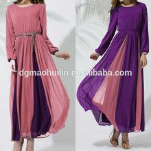 traditionellen dubai arabisch kleid lang frauen abaya chiffon Kontrastfarbe marokkanische kaftan kleid