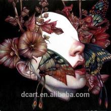 Ingrosso decorativi fatti a mano tela pittorica, farfalla e volto donna design