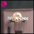 Anel de diamante de cristal anel pessário 1.5 quilate de diamante anel de gemstone cz cristal ouro chail anel