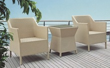 hd designs outdoor furniture includes two chairs and coffee table in flat wicker with cushion made in foshan city